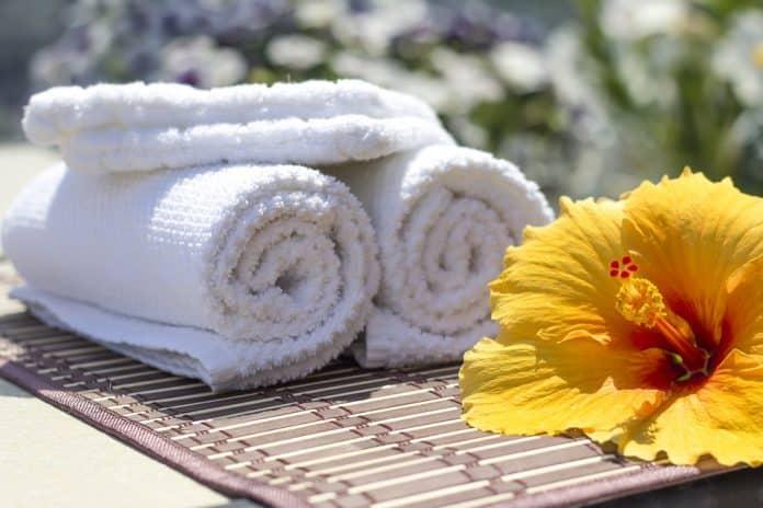 Handdoeken bad tuin